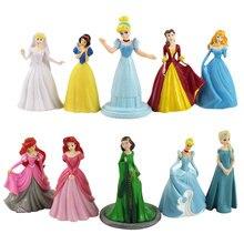 10 pçs/set 7cm-9.5cm Mermaid Sofia Princesa Da Disney Branca de Neve a Bela Adormecida Cinderela Princesa PVC Modelo Figura Boneca Brinquedos