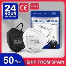 50 pièces navire de l'espagne FFP2 masques respirateur KN95 masques 5 couches filtre respirant bouche moufle visage masque noir gris blanc