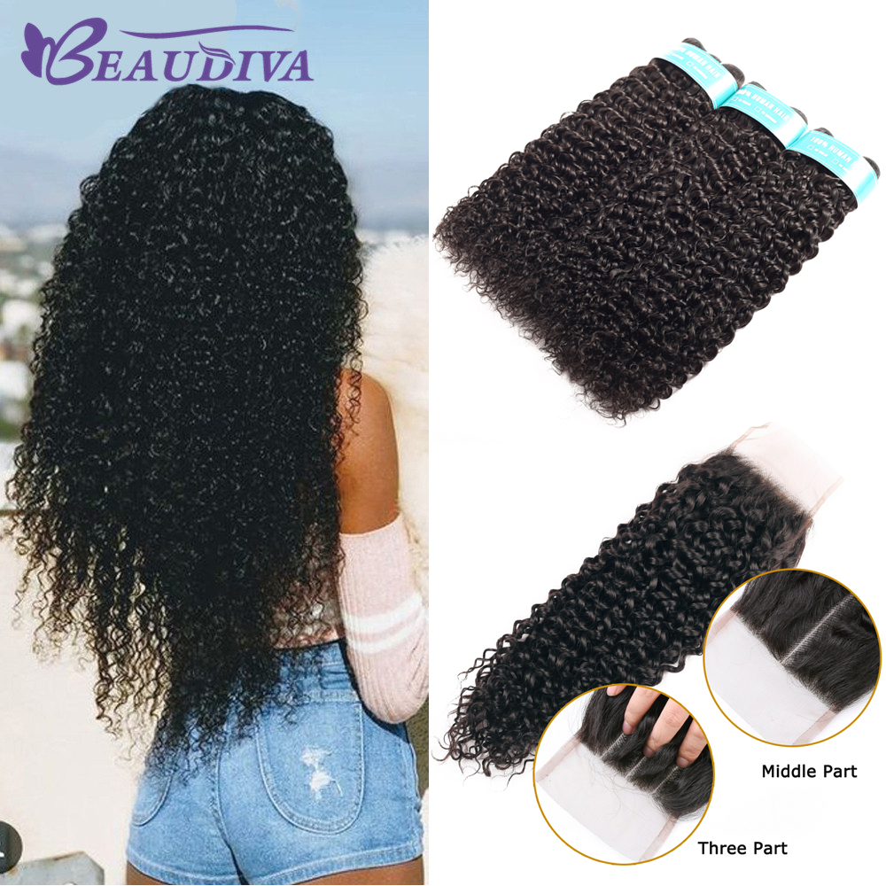 BEAUDIVA Hair Products 100%   Bundles With Closure Kinky Curly Natural Color 3 Bundles With 4x4 Lace Closure 1