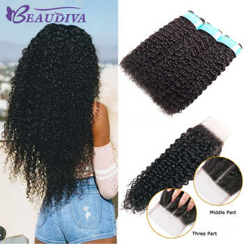 BEAUDIVA Hair Products 100% Malaysian Human Hair Bundles With Closure Kinky Curly Natural Color 3 Bundles With 4x4 Lace Closure - DISCOUNT ITEM  44% OFF All Category