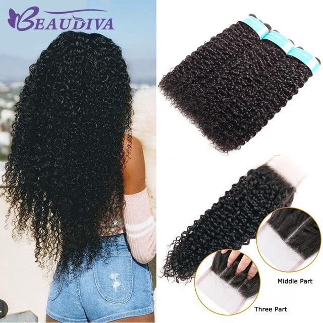 Beaudiva produtos de cabelo 100% feixes de cabelo humano malaio com fechamento kinky curly cor natural 3 pacotes com 4x4 fechamento do laço