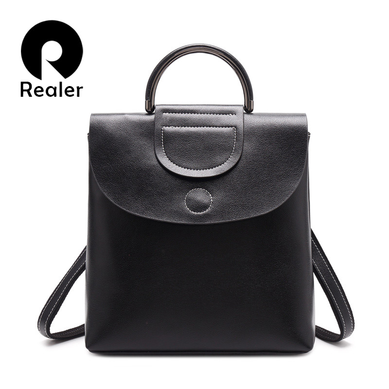 REALER Women Backpack School Backpack For For Teenager Girls, Spilt Leather Backpack For Women Tote Bag With Round Top-handle