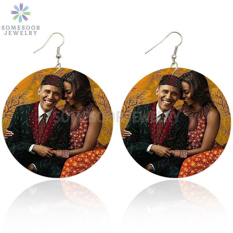 SOMESOOR Printed American President Couple Wooden Drop Earrings First Lady Michelle Black Hero Leader Obama Arts For Women Gift