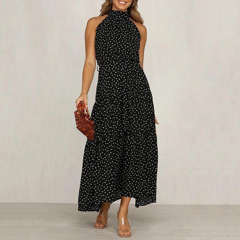 2020 Casual Summer Dress Women Sleeveless Dot A-line Party Dress Wave Point Ruffles Long Elegant Dress Female Clothes Vestidos