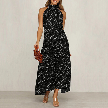 Vestido de verano informal para mujer, sin mangas, de lunares, de corte a, para fiesta, con volantes y lunares, elegante, largo, 2020