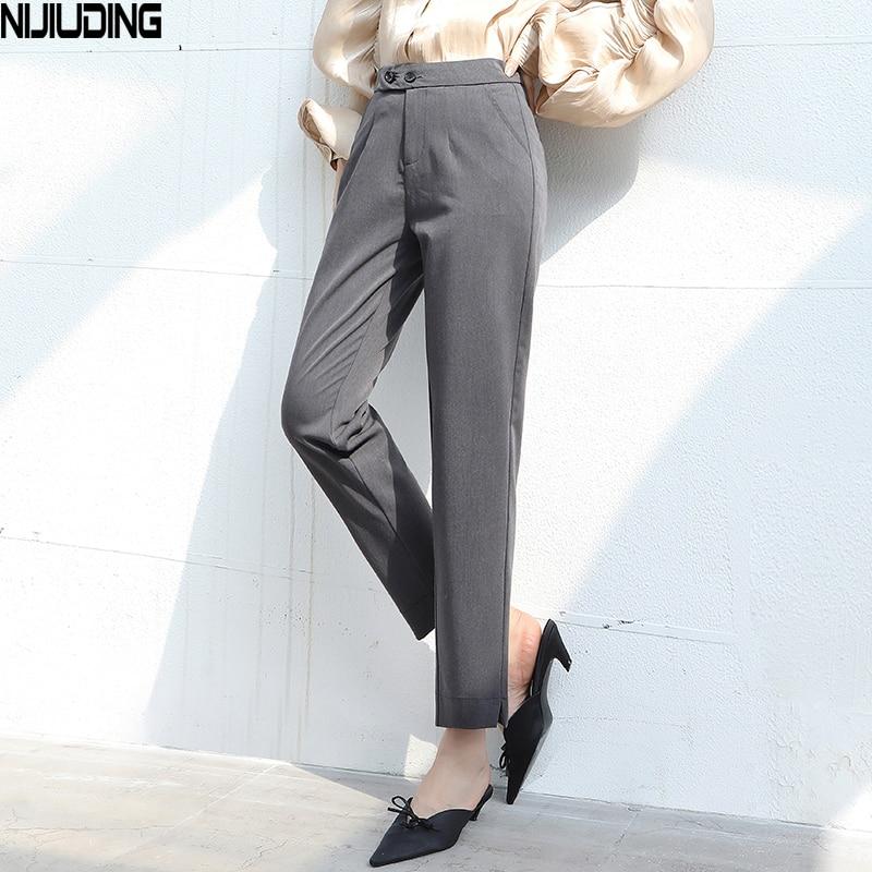 NIJIUDING Women Suit Pants 2020 Spring Summer Fashion Female Elastic Waist Formal Straight Pant  Trousers Office Lady Pantalon