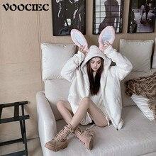 Plush-Jacket Spring Harajuku Japanese Bunny Puff-Sleeve Autumn VOOCIEC Girl And Cute