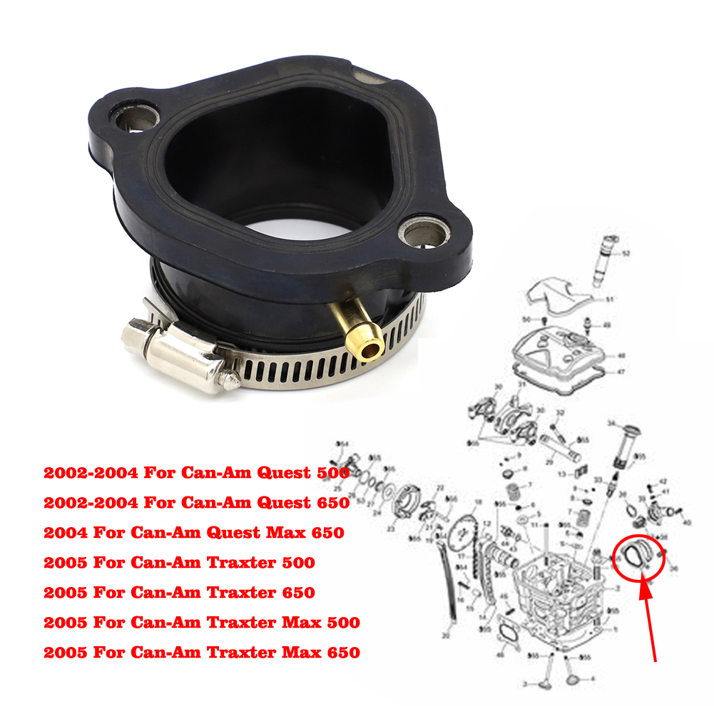 Carburetor Connector Rubber Flange 2002 2003 2004 2005 For Can-Am Quest Traxter 500 650 Replace 420267270 / 711267270