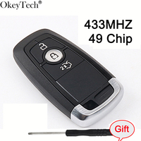 Okeytech OEM Smart Card 433MHZ With 49 Chip Remote Control Flip Car Key For Ford Mondeo 2017 Free Shipping