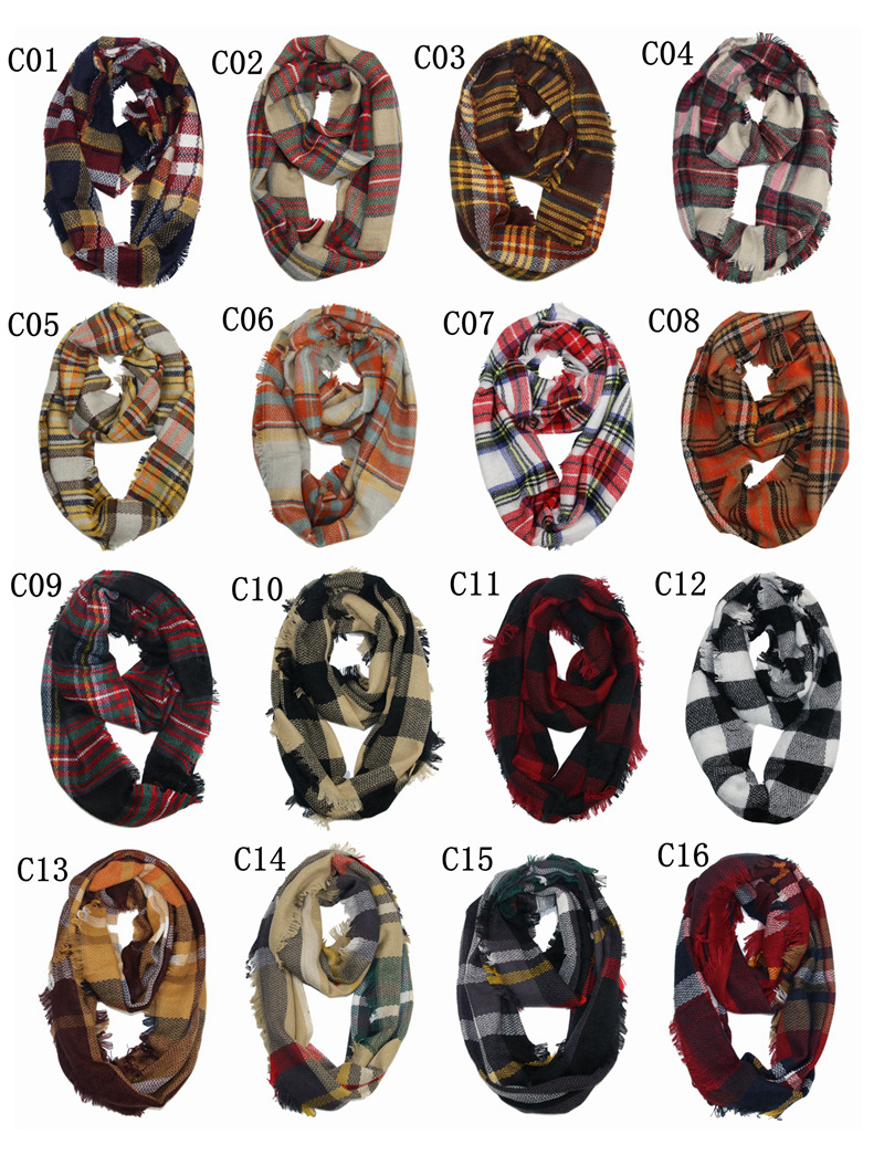 Hot Sales Europe And America New Style Large Grid Scarf Colorful Plaid Kerchief Extra-large Double-Sided Plaid Scarf Shawl