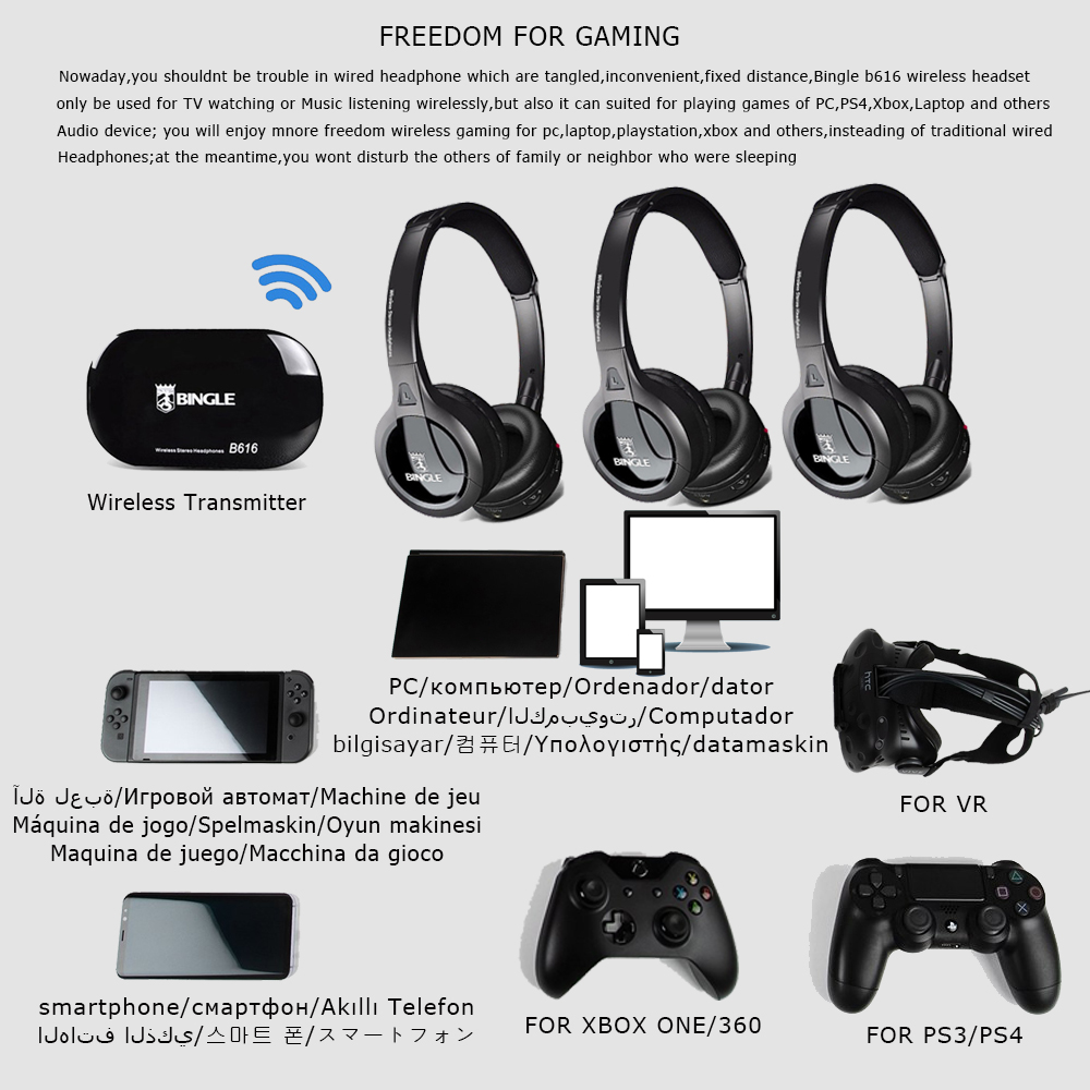 4 Pack 2,4G transmisor inalámbrico de Audio Casque auriculares universales para Samsung, LG, TCL, Xiaomi, sony Levono Honor TV - 3