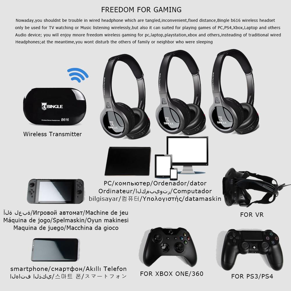 6 Pack 2.4G Wireless Transmitter Audio Headset Stereo Head Phone Headphones For Samsung,LG,TCL,Xiaomi,Sony,Sharp,Levono,Honor TV - 3
