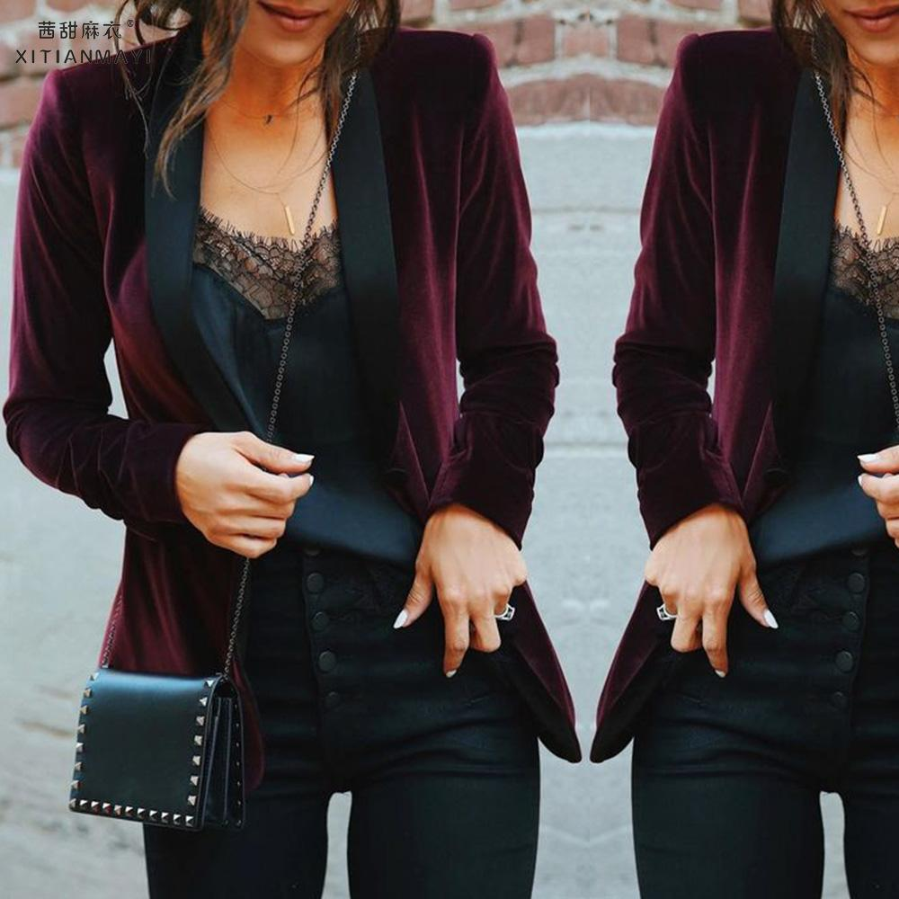 Autumn Women Velvet Suit Jacket Short Casual Female Long Sleeve Blazer Coat Self-cultivation Thin Contrast Suit D30
