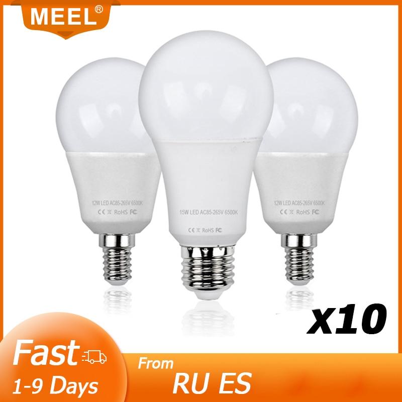 Ampoule LED E27 E14, lampe intelligente IC, puissance réelle, 3W 5W 7W 9W 12W 15W, 220V 240V, 10 pièces
