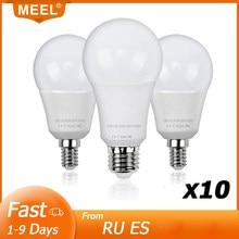 10 pçs lâmpada led e27 e14 220v 240v lampada ampola bombilla potência real 3w 5 7 9 12 15 lâmpada led inteligente ic luz