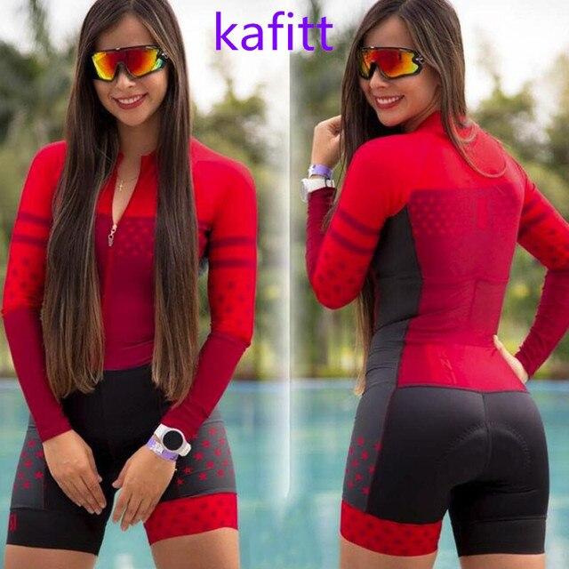 2020-kafitt triathlon bicicleta pouco macaco ciclismo wear workwear esportes correndo mulher vestido de uma peça manga longa loop conjunto pro 1