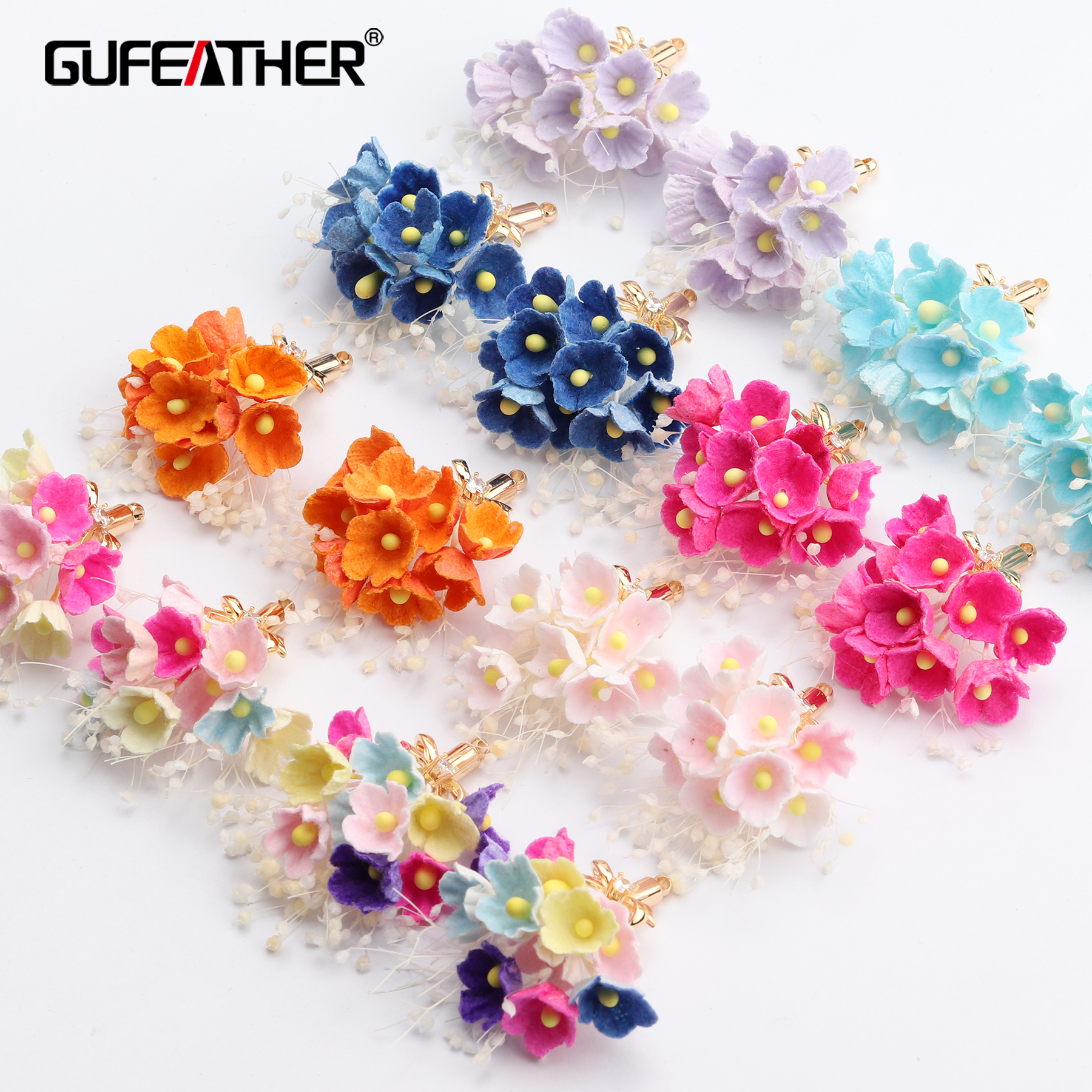 GUFEATHER M645,jewelry Accessories,18k Gold Plated,diy Flower Zircon Pendants,hand Made,jewelry Making,diy Earrings,6pcs/lot
