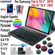 حافظة لهاتف سامسونج جالاكسي تاب أ 10.1 2019 حافظة لوحة المفاتيح T510 T515 Tab A7 10.4 2020 جراب T500 7 لون لوحة مفاتيح بلوتوث بإضاءة خلفية