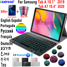 Case for Samsung Galaxy Tab A 10.1 2019 Keyboard Case T510 T515 Tab A7 10.4 2020 Cover T500 7 Color Backlit Bluetooth Keyboard