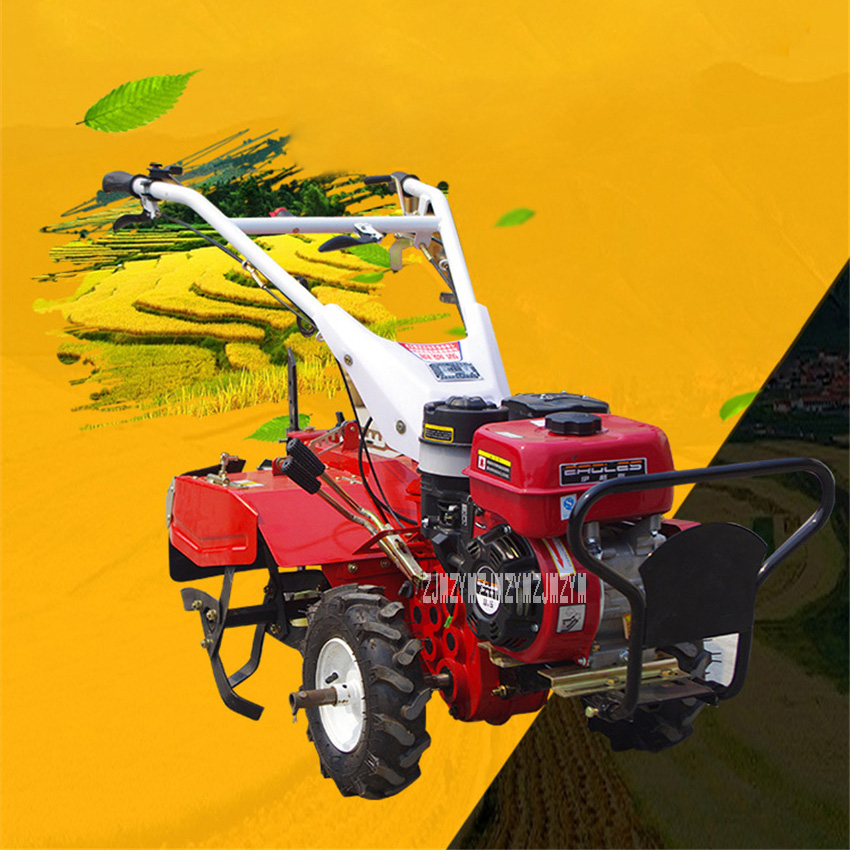 Household 170 Gasoline Rotary Tiller Mini Tiller Garden Tools Four-wheel Drive Self-propelled Rotary Cultivator 4.0KW 20-60cm