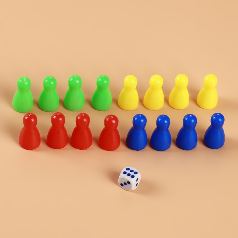 1Set Plastic Chess Pieces Dice Set Puzzle Educational Toys For Children Colorful Flying Chess Board Games Party Game Accessories