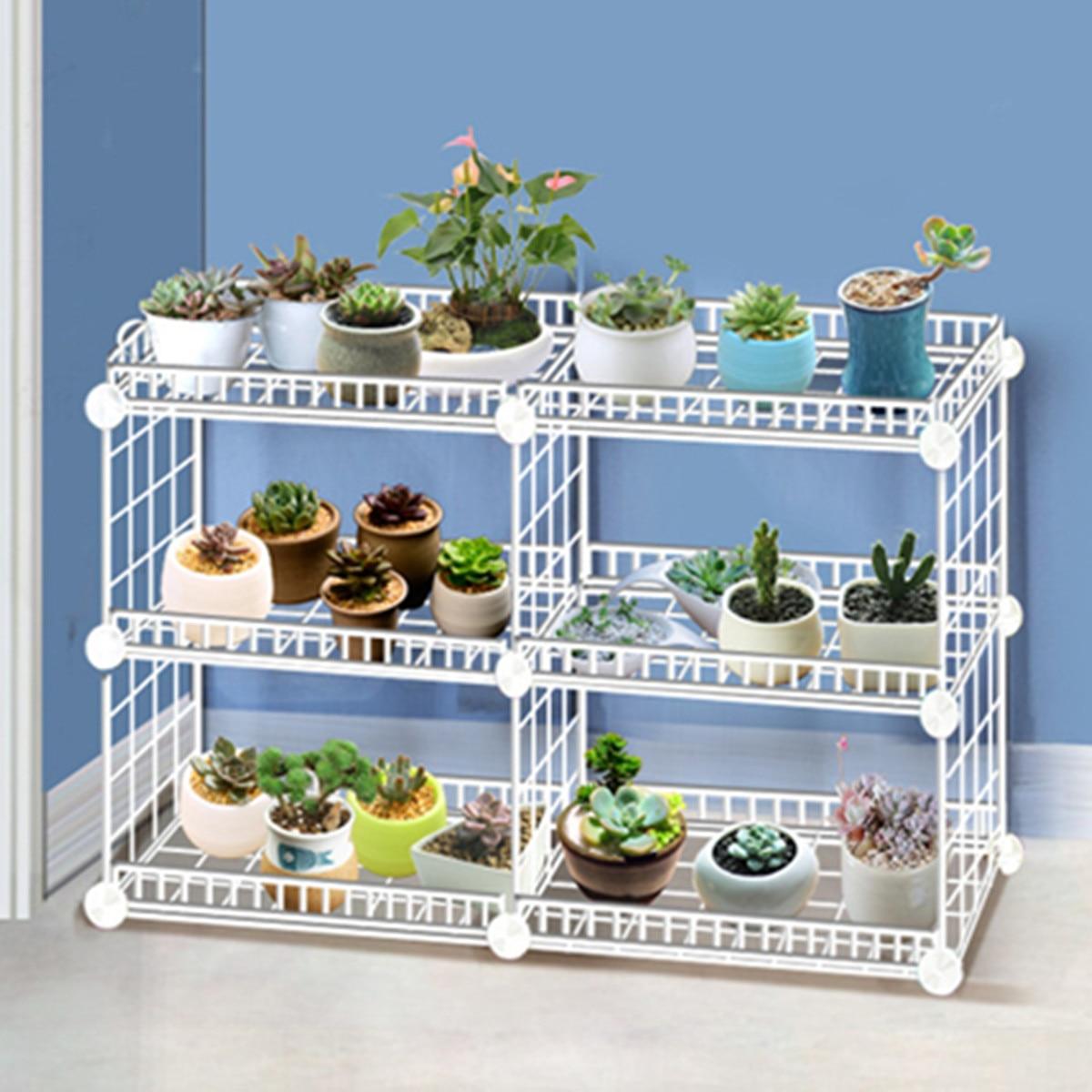 Soporte de planta multicapa de hierro forjado para el hogar con cuatro lados de cerca, estante para balcón, jardín interior, estante para maceta con flores desmontable