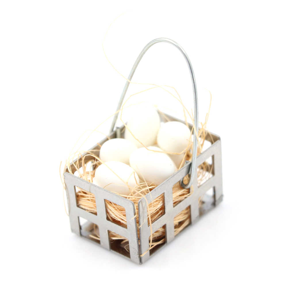 1:6 1:12 Dollhouse Egg Basket Dolls House Kitchen Food Miniature White Eggs Furniture Decor DIY Baby Toys