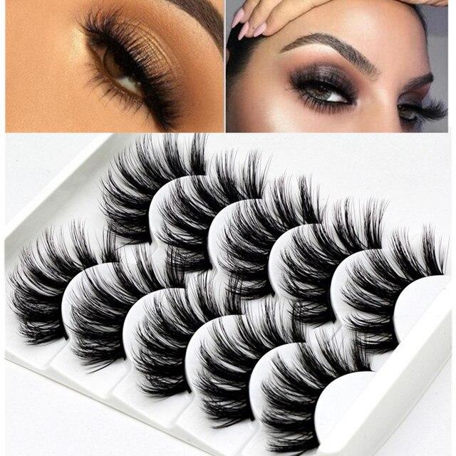 Mink eyelashes 5 pairs of handmade 3d mink lashes natural eyelashes extended beauty makeup false eyelashes