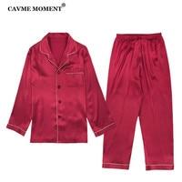 CAVME 16MM Real Silk Pajama Set for Men Sleepwear Sets 100% Silk Luxury Homewear 2 Pieces PLUS SIZE Nightwear Solid Color
