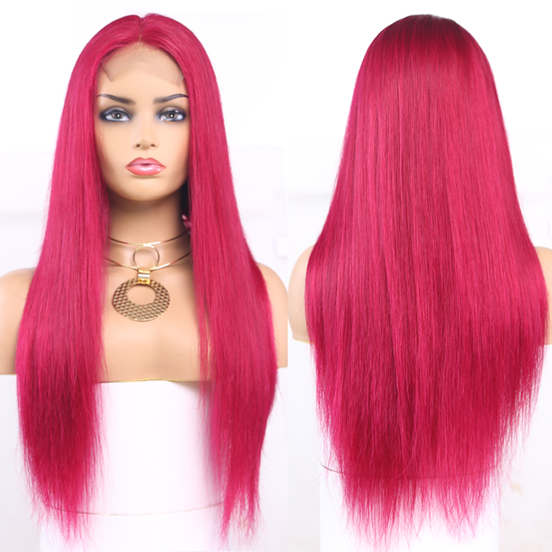 99J/Burgundy Lace Front Human Hair Wigs Pre Plucked Brazilian Straight African American Lace Wigs 13x4 Lace Frontal Wigs Remy