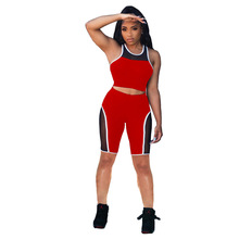 Women Mesh Patchwork Sweatsuit High Streetwear Shorts and Vest Tops Matching Two 2 Piece Set Sport Tracksuit Outfits