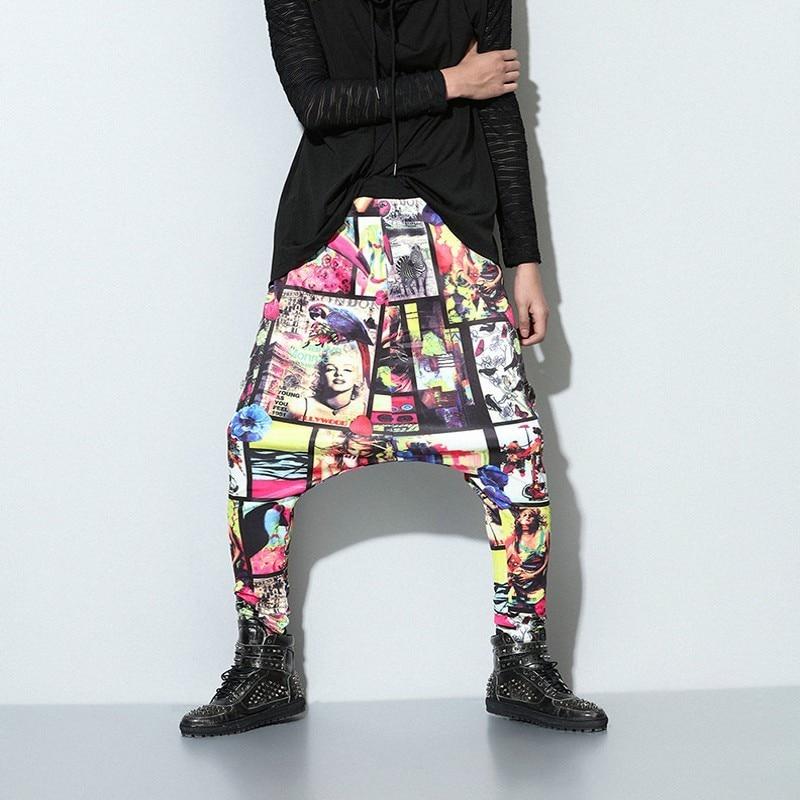 Streetwear Man Hip Hop Trousers Fashion Printing Drawstring Elastic Waist Man Harem Pants Casual Loose Fit Male Sweatpants