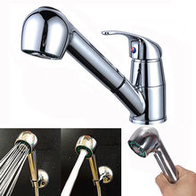 Badkamer Douchekop Kitchen Sink Chrome Enkel Handvat Mengkraan Swivel Pull Out Spray Kraan Uitloop Waterbesparende Nozzle Kraan(China)
