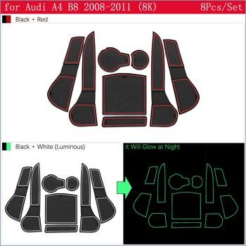 Pour Audi A4 B8 2008 2009 2010 2011 A4 8K RS4 S4 S line RS anti-dérapant en caoutchouc porte fente tasse tapis caboteur accessoires voiture autocollants