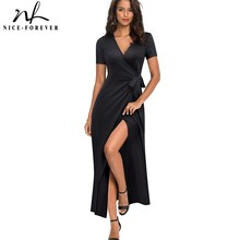 Nice forever Causal Solid Color Sexy Split vestidos Short Sleeve Party Long Maxi Women Dress A155