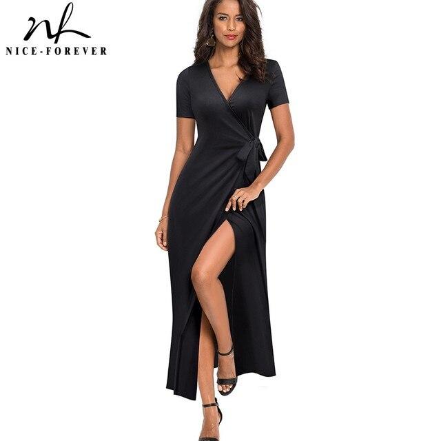 素敵な永遠の因果無地セクシーなスプリット vestidos 半袖パーティー女性のドレス A155