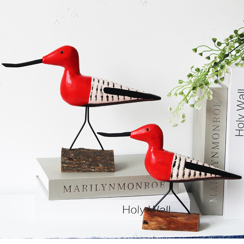 2PCS/SET NORDIC STYLE <font><b>WOODEN</b></font> <font><b>SEABIRD</b></font> FIGURINES ANIMAL DECORATIVE PIECES LOVE BIRD CREATIVE HOME DECORATION image