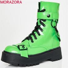 2020 di nuovo modo Stivali Da Moto delle donne punk scarpe lace up fibbia autunno inverno stivali piattaforma zip freddo stivali della caviglia delle donne