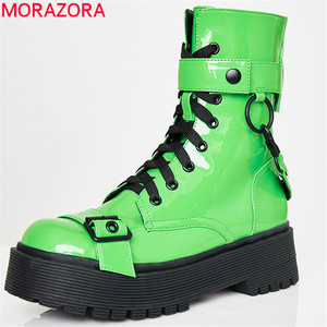Image 1 - 2020 new fashion Motorcycle Boots women punk shoes lace up buckle autumn winter platform boots zip cool women ankle boots