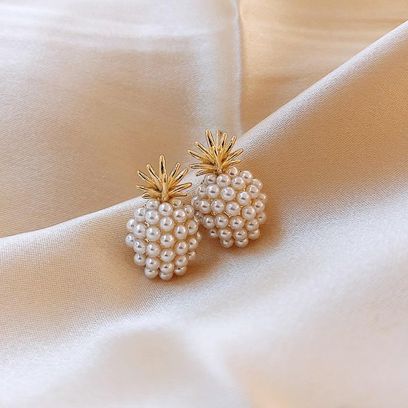 Pineapple pearl earrings French retro high-quality earrings net red temperament female 2020 new wave earrings Prevent Allergy