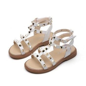 SKHEK caliente bebé niña sandalias de moda para chicas de verano zapatos de gladiador con arco niños sandalias planas tamaño 21-36