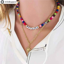 The European and American fashion color acrylic beads sunflower alloy pendant necklace fashion jewelry wholesale 2015 new arrival fashion alloy necklace cicada pendant necklace wholesale