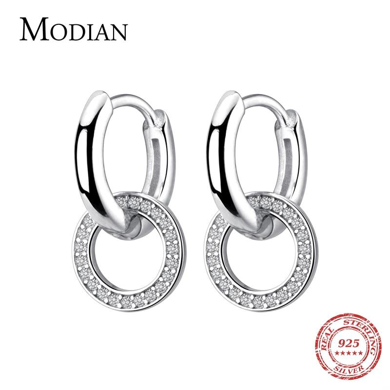 Modian, сверкающие серьги кольца, модное очарование, 100% Стерлинговое Серебро 925 пробы, чистое CZ круглое ухо для женщин, свадебные массивные ювелирные изделия Серьги-кольца      АлиЭкспресс