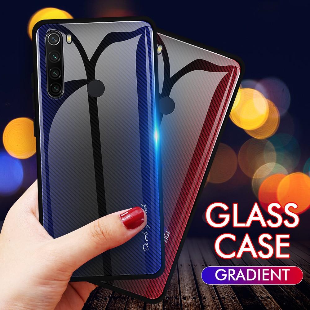 OTAO Gradient Tempered Glass Case For Xiaomi Redmi Note 8 5 7 6 Pro K20 Stripe 9H Glass Cover For Mi 9 CC9 9se TPU Bumper Cases