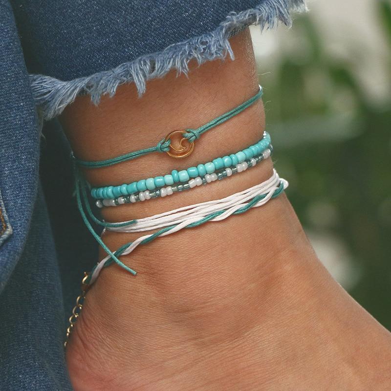 Tocona Beach Blue Green Rope Wave Pendant Anklets for Women Wave Surfer Multilayered Anklets Set Bracelet Foot Jewelry 6548