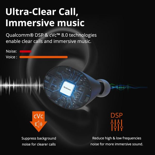 Tronsmart Spunky Beat True Wireless Stereo Bluetooth Earphone APTX Wireless Earbuds with Qualcomm Chip, CVC 8.0, Touch Control, 2