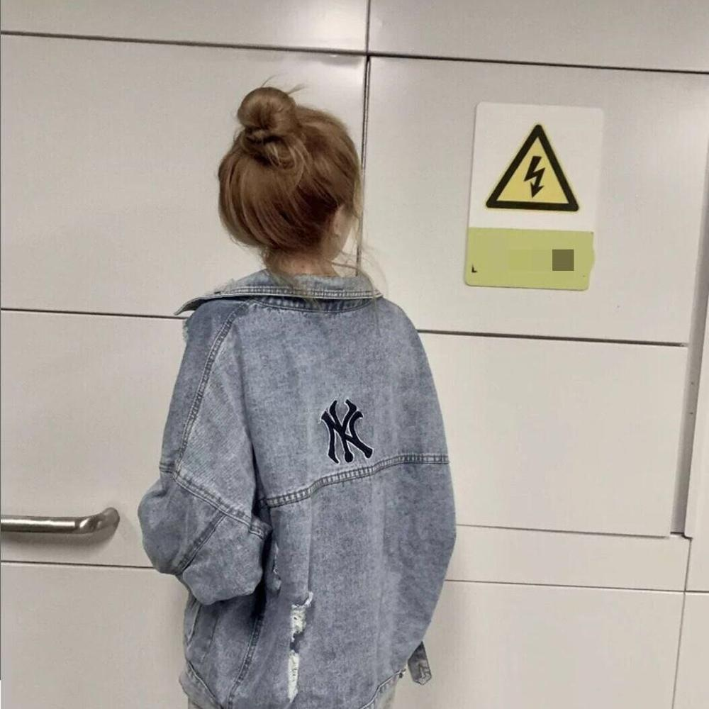 Timis Li NY Big Loose Denim Jacket Women Embroidery Jeans Coat Hip Hop Hole Single Breasted Jeans Jacket Casual Women Jacket