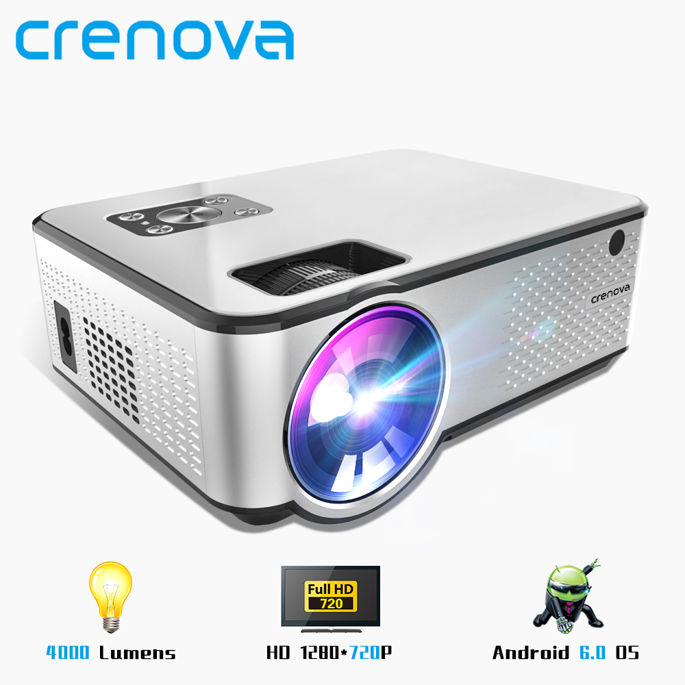 CRENOVA 2019 Newest Android Projector 1280 720P Support 4K Videos Via HDMI Home Cinema Movie Video