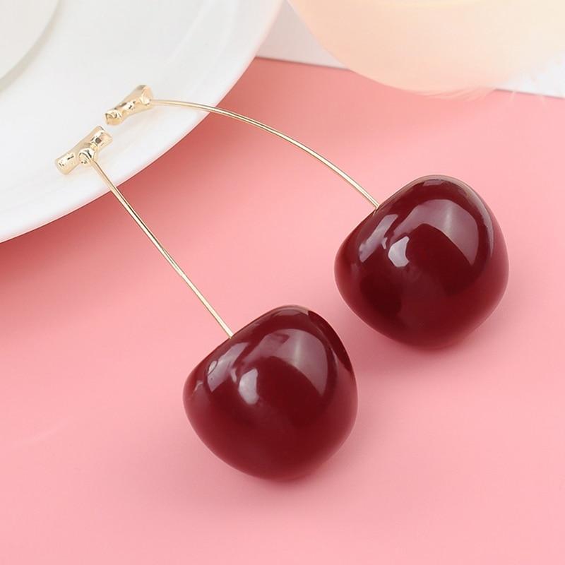 2019 New Fashion Red Cherry Fruit Simple Earrings For Women Tassel Dangle Earrings Sweet Long Pendant Girl Gift  Korea Jewelry