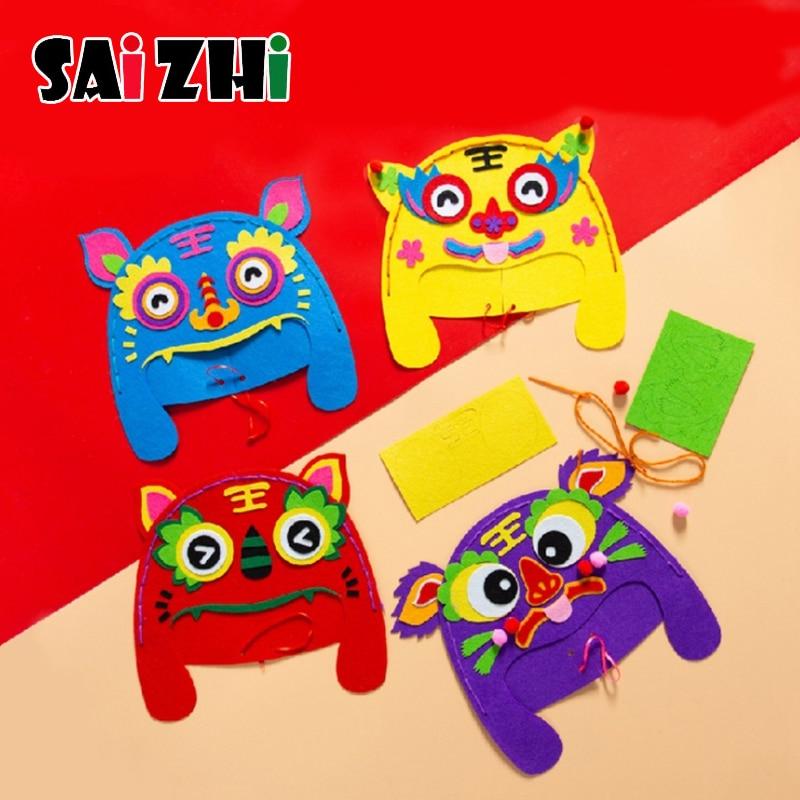 Saizhi DIY Hand-made Tiger Head Hat Children DIY Handmade Hat Enviromental-friendly Handmade Craft DIY Hat Craft Toy For Kids